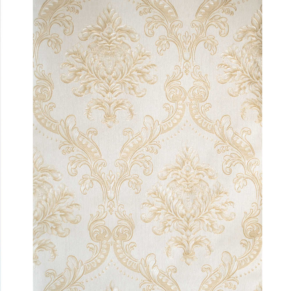 Gold White Damask Wallpaper Luxury Classic European Style Vinyl