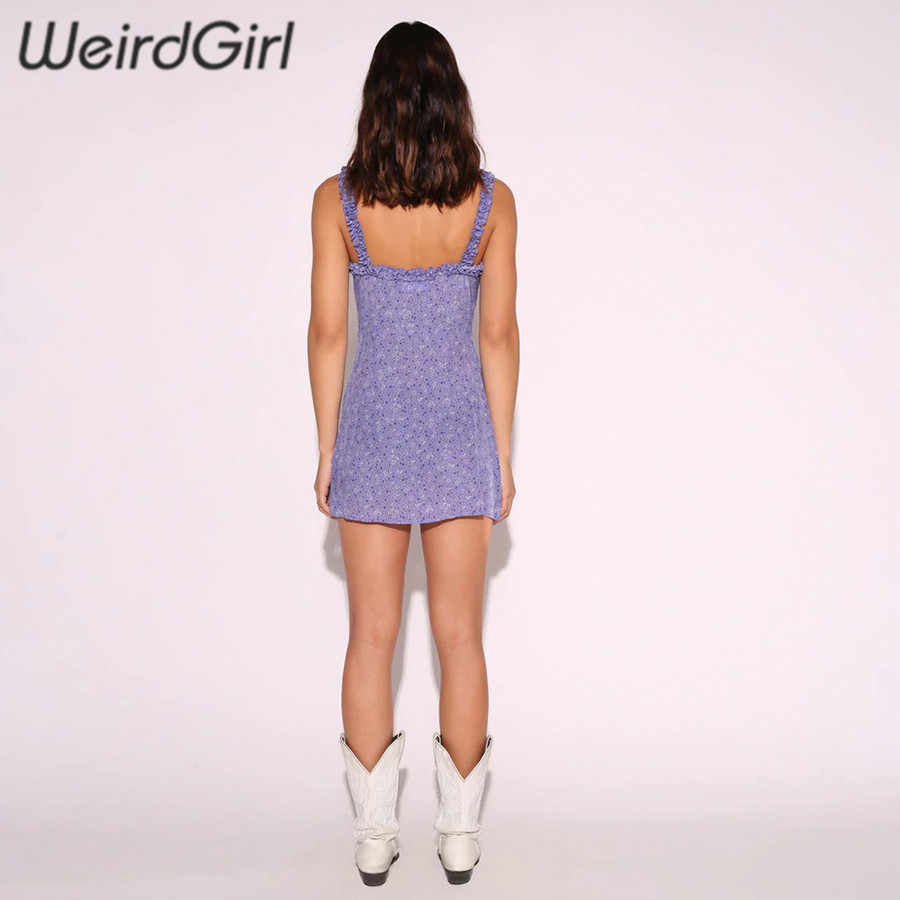 Weirdgirl женское летнее облегающее и расклешенное сексуальное платье с цветочным принтом и пуговицами, облегающее платье без рукавов, модное повседневное мини-платье для женщин, Новинка