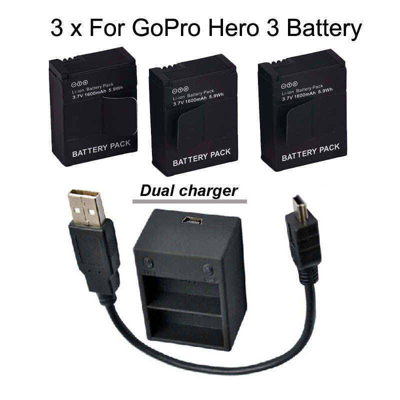 3pcs 1600mah gopro battery hero3 ahdbt 301 ahdbt301 ahdbt 201 gopro hero 3 gopro 3 battery dual. Black Bedroom Furniture Sets. Home Design Ideas