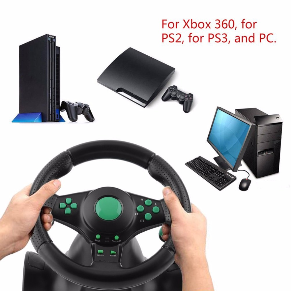 For XBOX 360 For PS2 For PS3 PC USB Car Steering Wheel 180 Degree Rotation Gaming Vibration Racing Steering Wheel With Pedals onleny 18s vibration racing steering wheel learning to drive steering wheel simulator driving european truck for need for speed