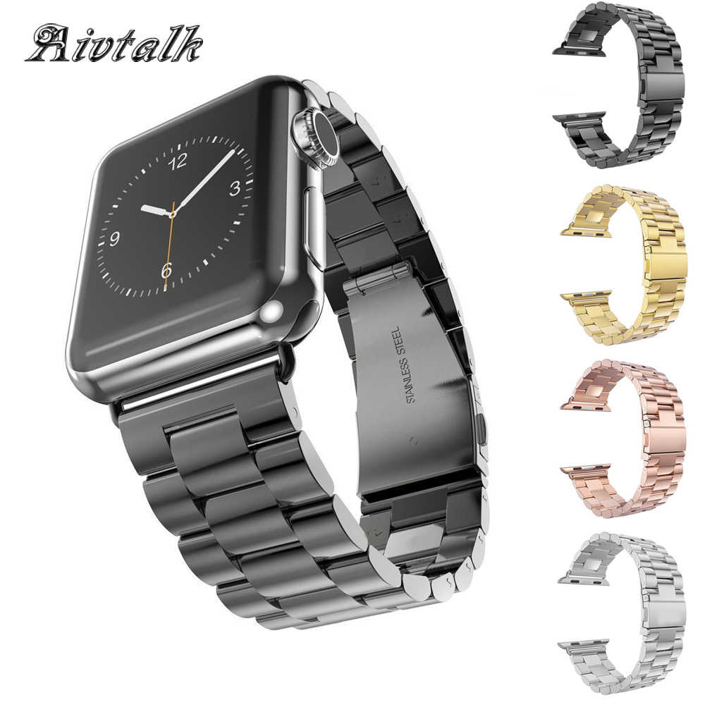 Avitalk Stainless Steel Strap For Apple Watch Band 38mm 42mm iwatch 3 2 1 Black Silver Wrist band Link bracelet Watch band Strap
