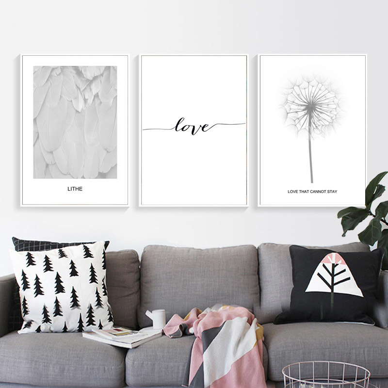 Europe Black And White Feather Love Canvas Paintings Printing Wall Art Pictures Poster For Living Room Home Decoration in Painting Calligraphy from Home Garden