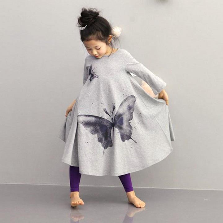 Kids Dresses For Girls Children Clothing Girls Beach Dress Cotton Butterfly Print Long Design T-shirt Full-flared Dress2-10y