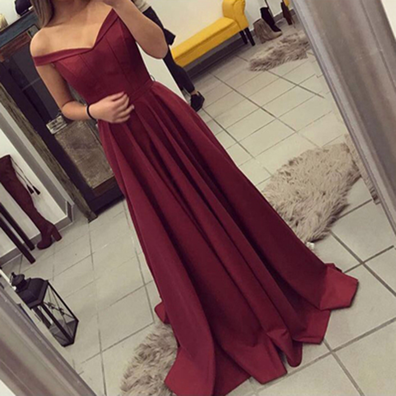 Evening     Dress   Long 2019 Wine Red Elegant Satin V Neck Prom Party   Dresses     Evening   Gown Abendkleider Abiye Robe De Soiree