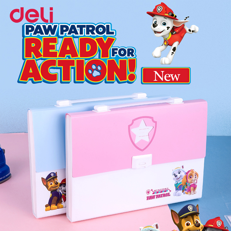 Deli candy color cute paw patrol pattern file expanding wallet bag for school kid office A4 document organizer accordion folder a4 expanding wallet with sticker for school kid office file document organizer stationery accordion folder a4 document file bag