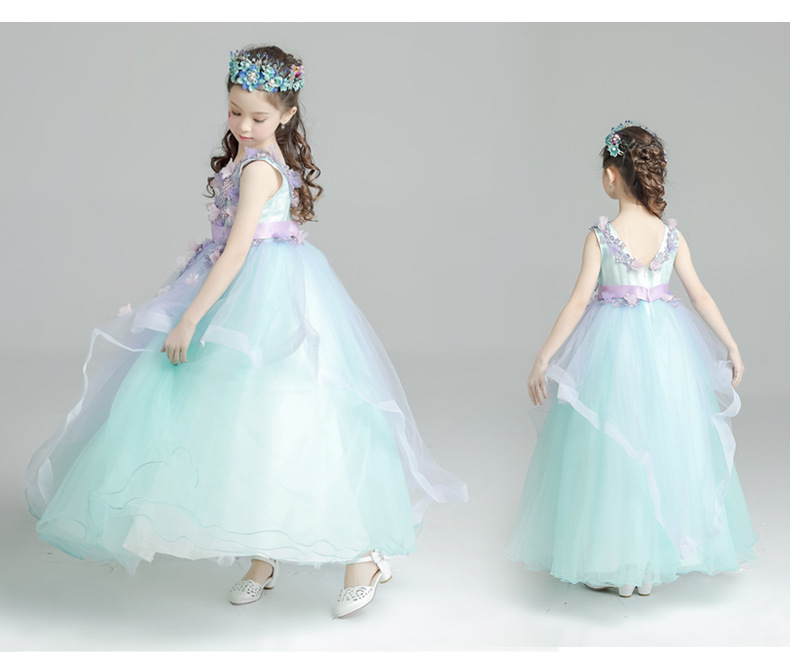 Long Lace Flower Girls Dresses for Wedding A-Line Spring Pretty Mother Daughter Dress Tulle Pageant Dresses fo Satin Girls Dress girls grid a line flared dress