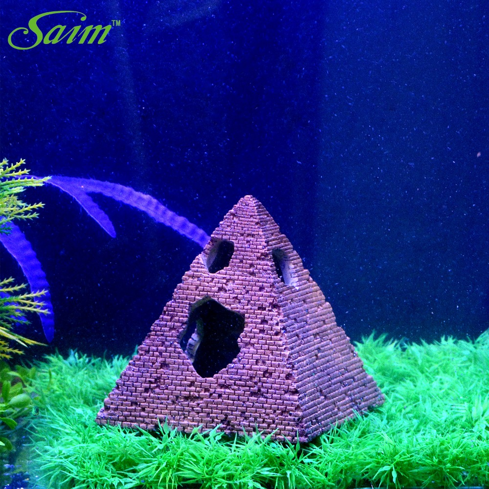 Aquarium fish tank sizes - Aquarium Fish Tank Decoration Aquatic Creations Ancient Pyramid Ornament Artificial Accessories Small Size China
