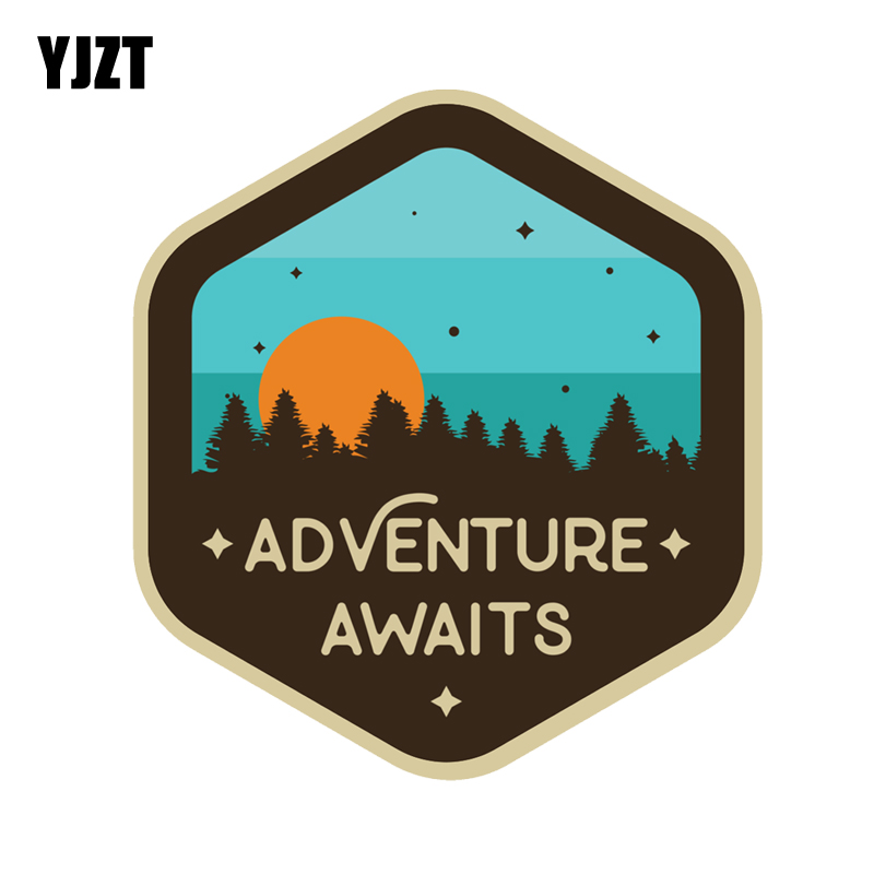 YJZT 12.6CM*13.7CM Adventure Awaits Sunset Camping Travel Decal PVC Motorcycle Car Sticker 11-00760