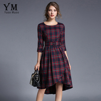 YuooMuoo High Quality Plaid Vintage Dress European Style Elegant Knee-length Trumpet Retro Dress with Belt Female AutumnDress