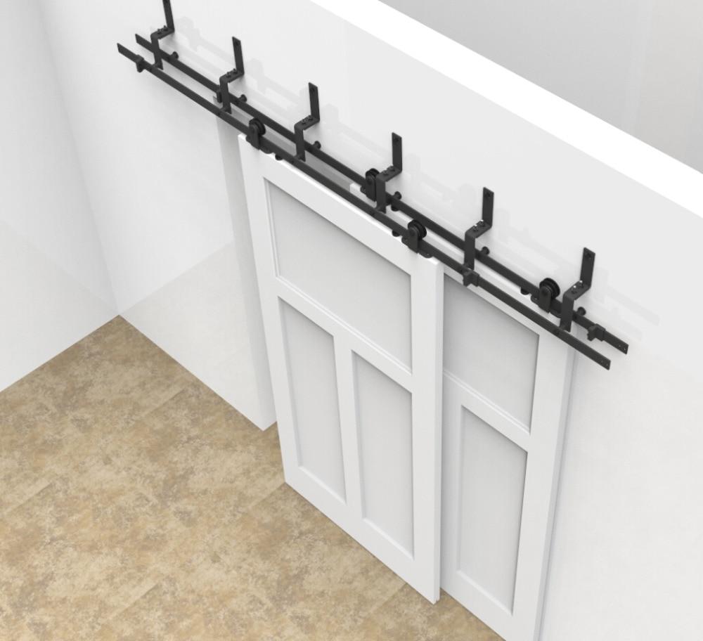 Interior sliding barn door kit - 6 6 6ft Bypass Sliding Barn Wood Door Closet Door Interior Top Mounted Rustic Black