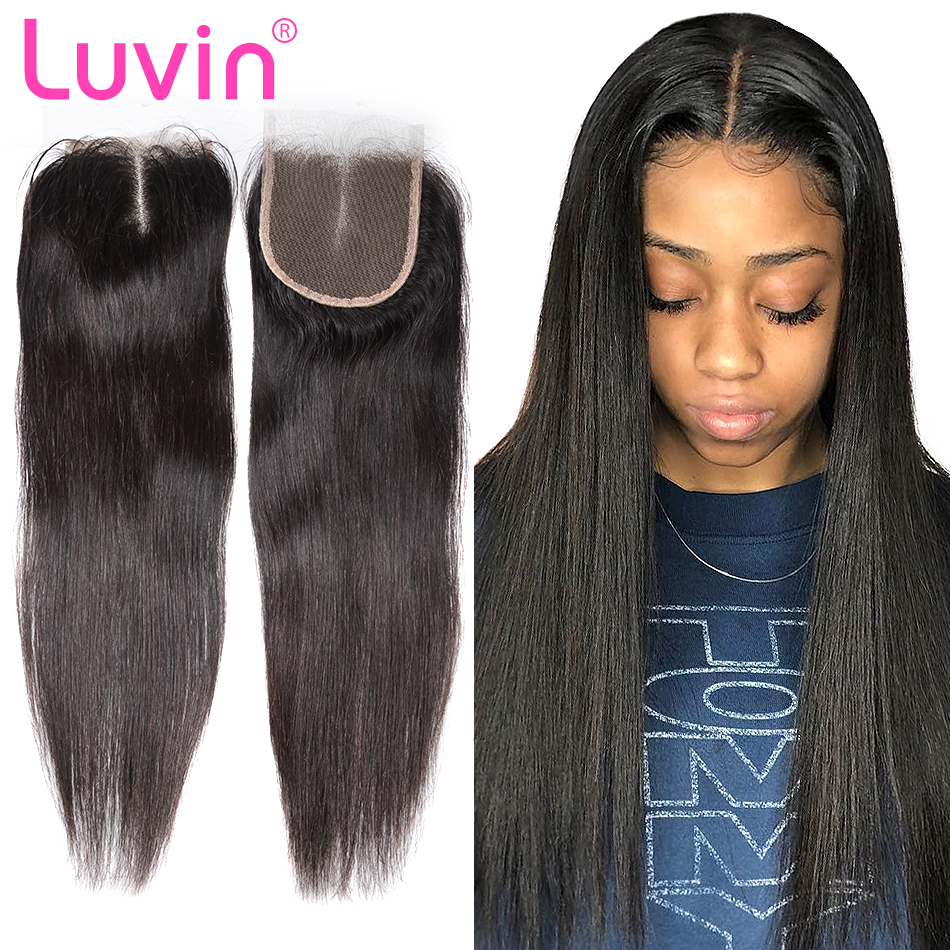 Luvin 6A Brazilian Lace Closure Straight Bleached Knots 4x 4 With Body Hair Natural Color 100% Human Remy Hair Middle Free Part