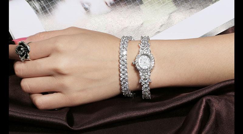 16 50M Waterproof Selberan Gold/Silver Natural Zircon Wrist Watch for Women Luxury Ladies Bracelet Watch Montre Femme Strass 19