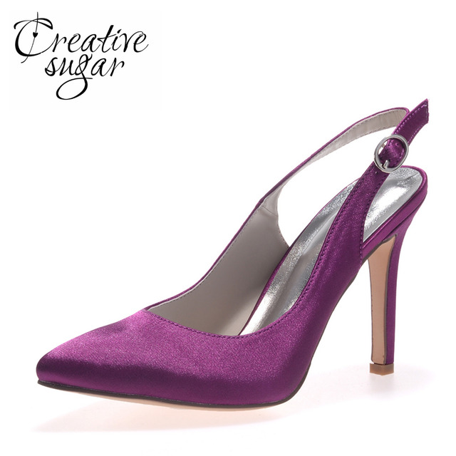 Creativesugar Pointed toe satin slingback dress shoes bridal wedding party  prom pumps elegant simple white silver grey purple 19eaaa1ca747