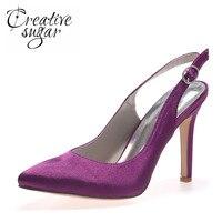 Creativesugar bout Pointu satin slingback robe chaussures de mariée de mariage partie de bal pompes élégant simple blanc argent gris violet
