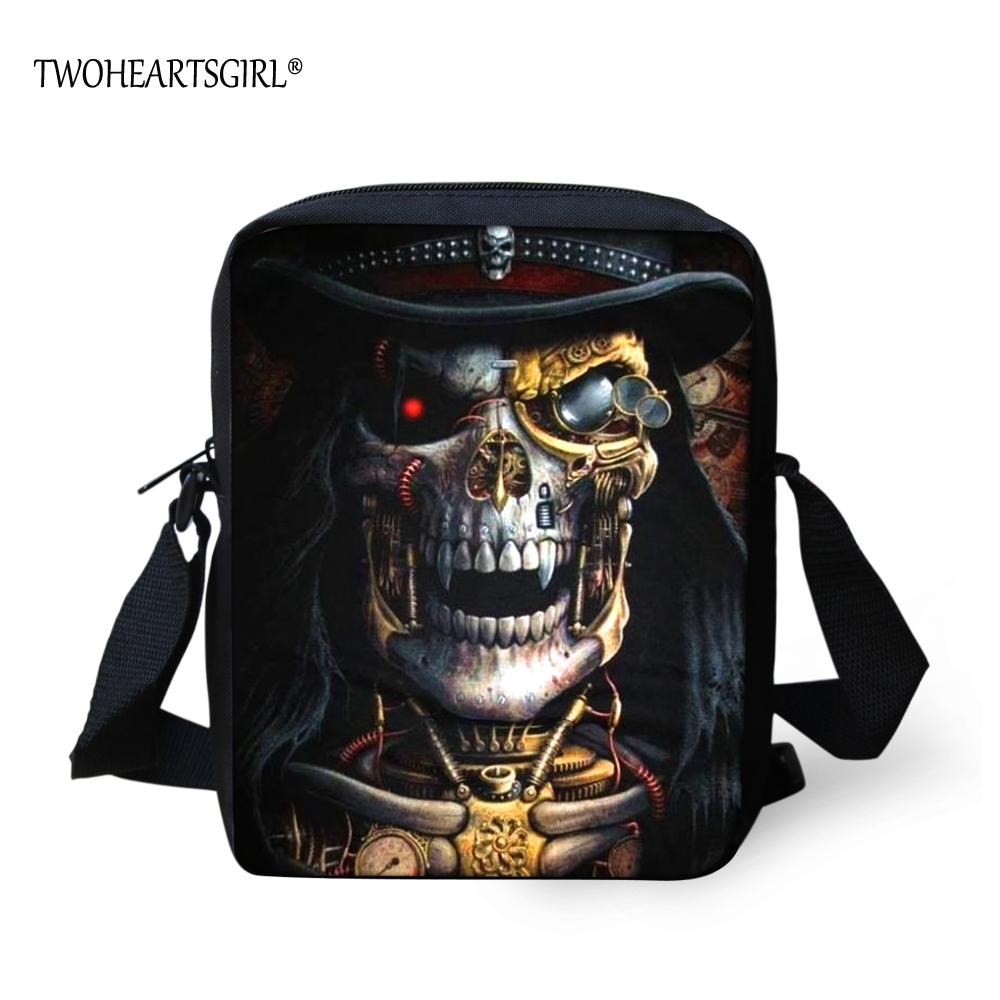 TWOHEARTSGIRL Different Skull Designer Men Messenger Bag Male Crossbody Bag Cool Boys Casual Shoulder Lightweight Polyester