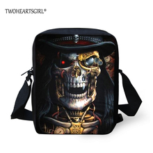 TWOHEARTSGIRL Different Skull Designer Men Messenger Bag Male Crossbody Bag Cool Boys Casual Shoulder Lightweight Polyester Bag