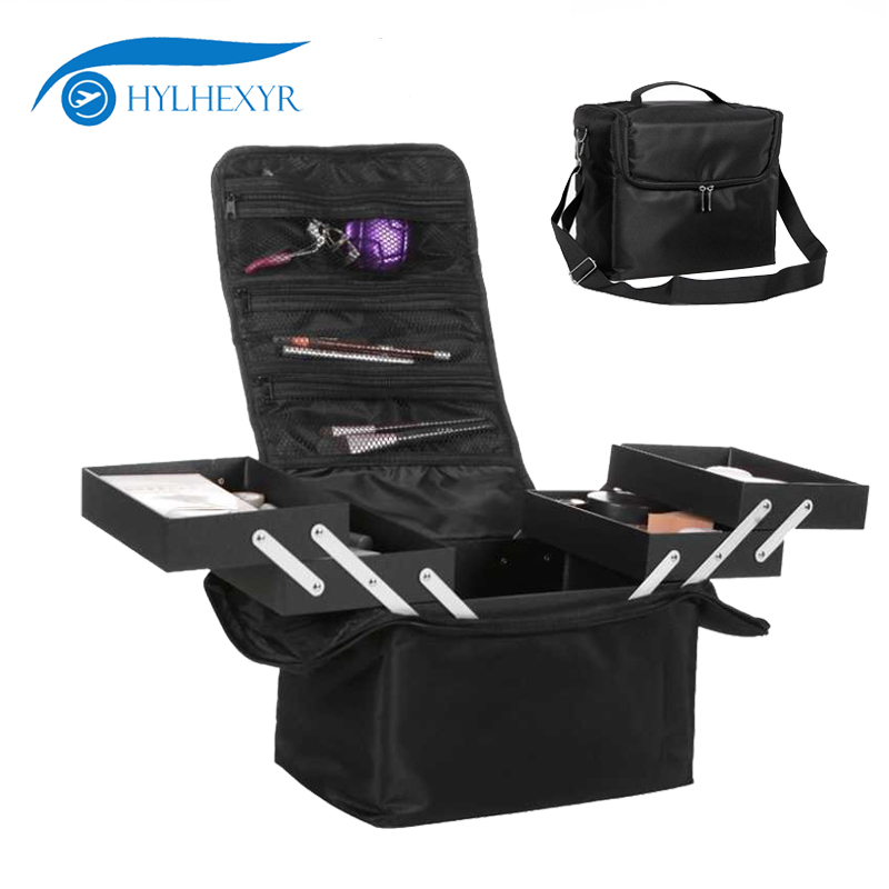 Hylhexyr Large Multi-Storey Professional Travel Make Up Package Bag Portable Cosmetic Pouch Case Toiletry Organizer Suitcase new arrive hot 2pc set portable jewelry box make up organizer travel makeup cosmetic organizer container suitcase cosmetic case