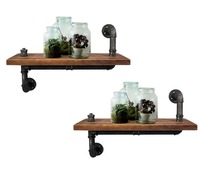 Set of 2PCS Rustic Vintage Mount Bracket Industrial DIY Pipe Shelf Display Wall Shelves Home Decor Storage and Holders