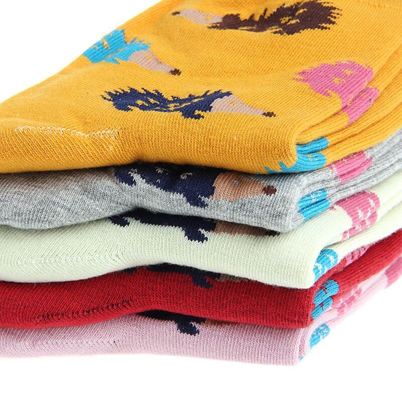 Women Winter Warm Soft Cotton Blend Hedgehog Animal Cartoon Casual Crew Socks