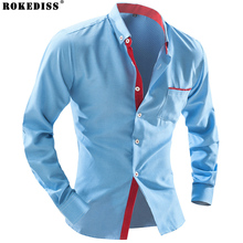 2017 New Men Casual Slim Fit Long-Sleeve Business Shirts Spring and Autumn Dress Shirt Men Formal Chemise Homme C269