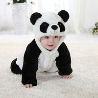 2016 New Cute Animal Panda One Piece Long Sleeve Cotton Newborn Baby Romper Baby Costume Clothing
