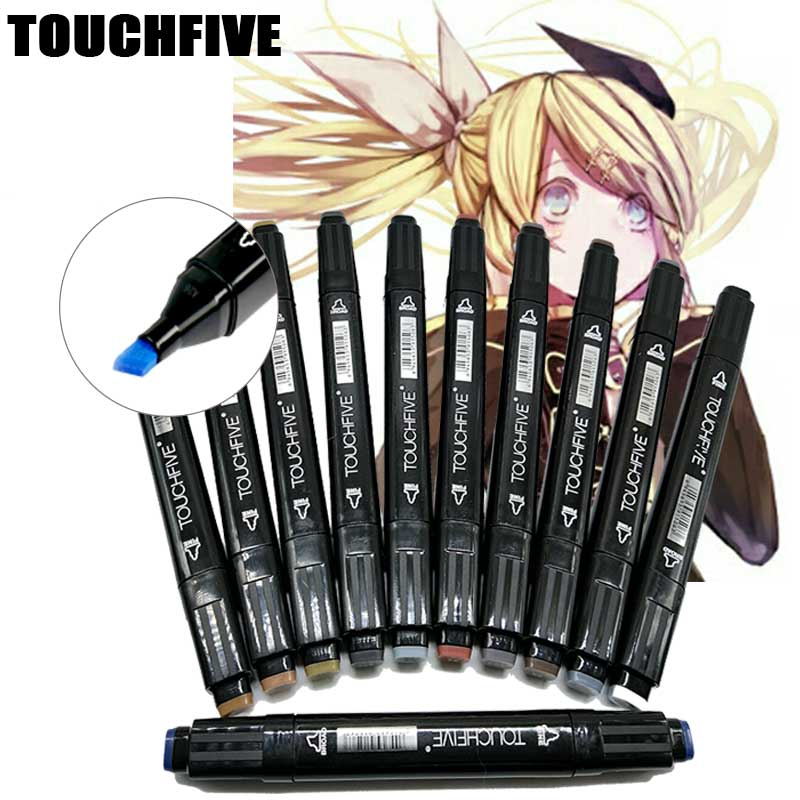 TOUCHFIVE Anime art design marker pen 80 color double head markers Set for liner drawing  painting Manga Art Supplies dainayw 12 cool grey colors marker pen grayscale dual head art markers set for manga design drawing school student supplies
