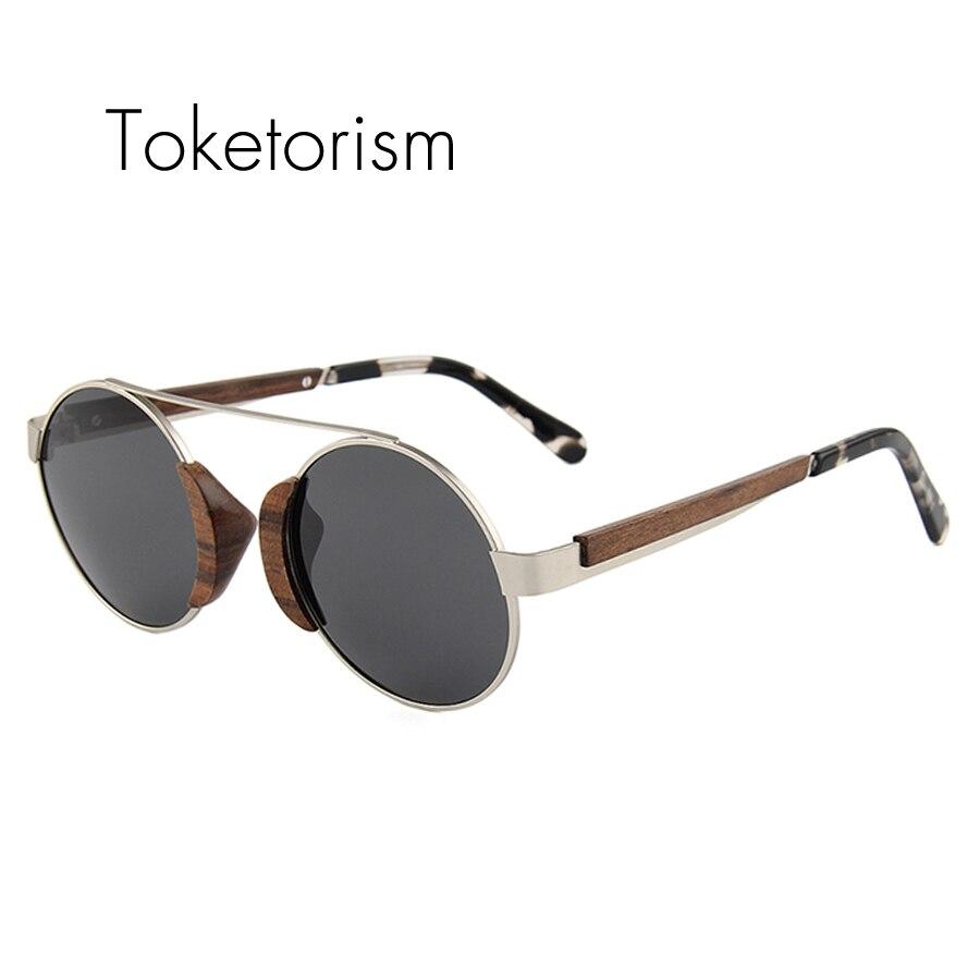 Rodada do Vintage Óculos de Sol Madeira dos Homens Toketorism Novo Verão de  Polarizados Oculos Feminino 8503 133bd3a6cd