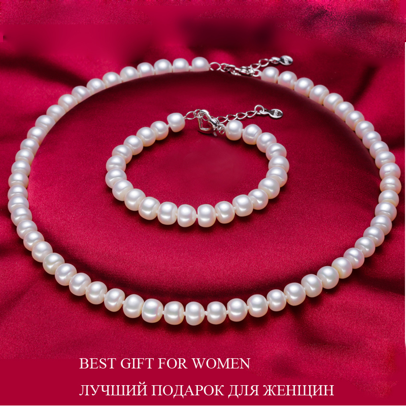Set pure real freshwater pearl necklace and bracelet 1