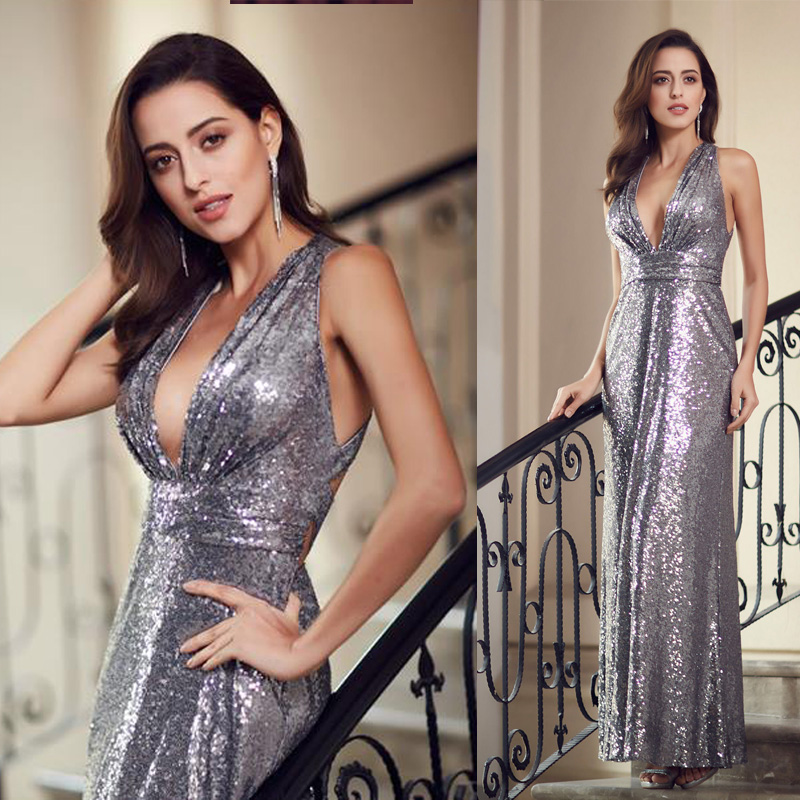 2019 Sparkle  Modern Sequined Evening Dresses Ever Pretty EP07109 Women'S Sexy Long Deep V-Neck Sleeveless Shiny Party Dresses