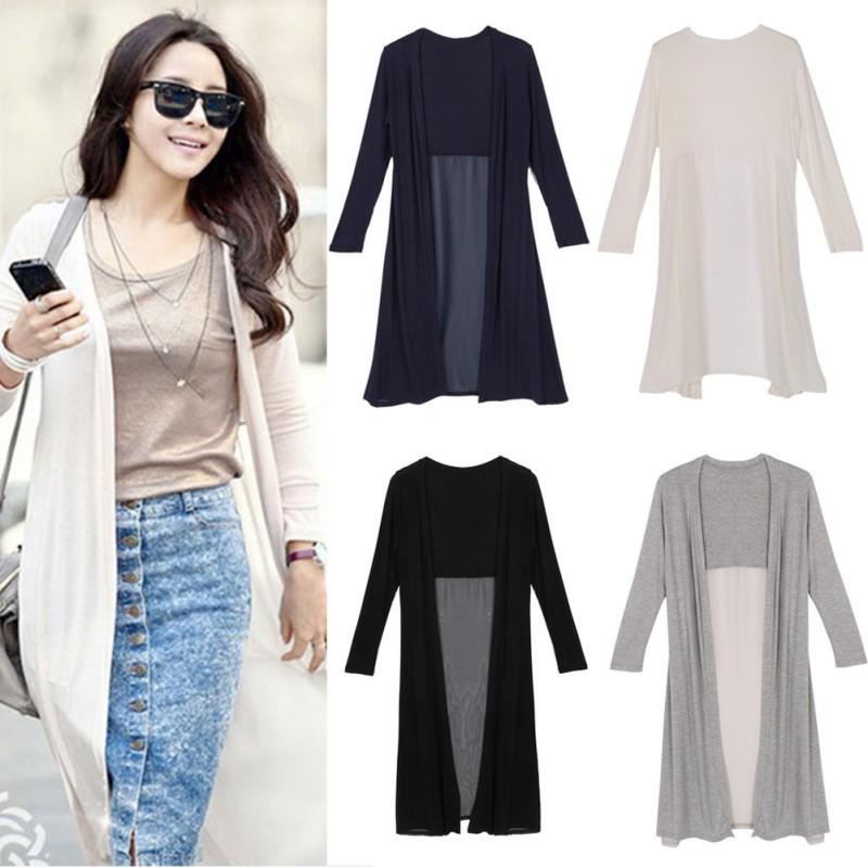 Korean Style Sunscreen Cardigan Shawl Long Sweater Coat Women ...