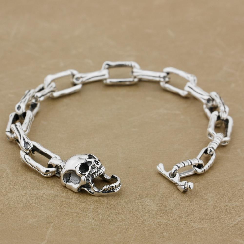 LINSION 925 Sterling Silver Skull Bone Chain Mens Biker Rocker Punk Bracelet 8W008