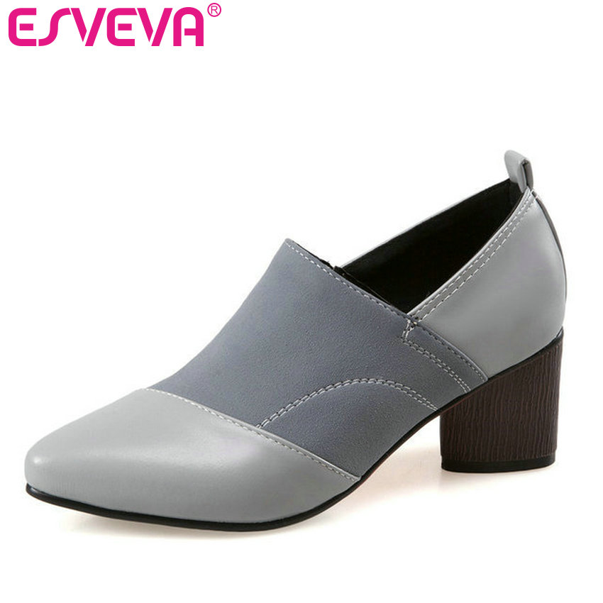 ESVEVA 2017 Gray Pointed Toe OL Shoes Black Square High Heel Women Pumps Lady Western Style Spring Autumn Spring Shoe Size 34-43 new spring autumn women shoes pointed toe high quality brand fashion ol dress womens flats ladies shoes black blue pink gray
