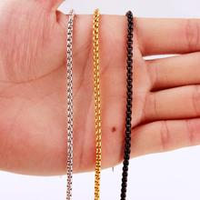 Granny Chic 7-40 Inch Width 3mm Silver Gold Black Stainless Steel Round Box Link Chain Never Fade Waterproof Wholesale
