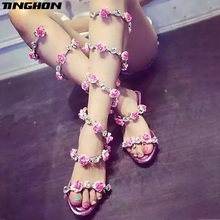 TINGHON Women Summer Shoes Pink Flat Wedge Platform Sandals High Heels Snake Strap Crystal Women Gladiator Sandals Sexy Shoes все цены