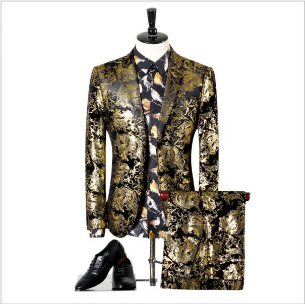 (Jacket+Pants) Men's Gold Printed Paisley Floral Black Gold Tuxedo Stage Costumes Slim Fit Blazer Men's Wedding Suit
