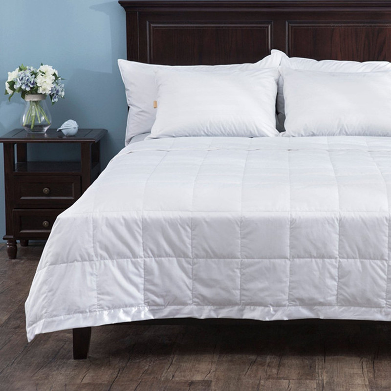 down blanket with satin trim 230 thread count 100 cotton king inches filled 550 fp white duck down 100gsm for summer - Down Blankets