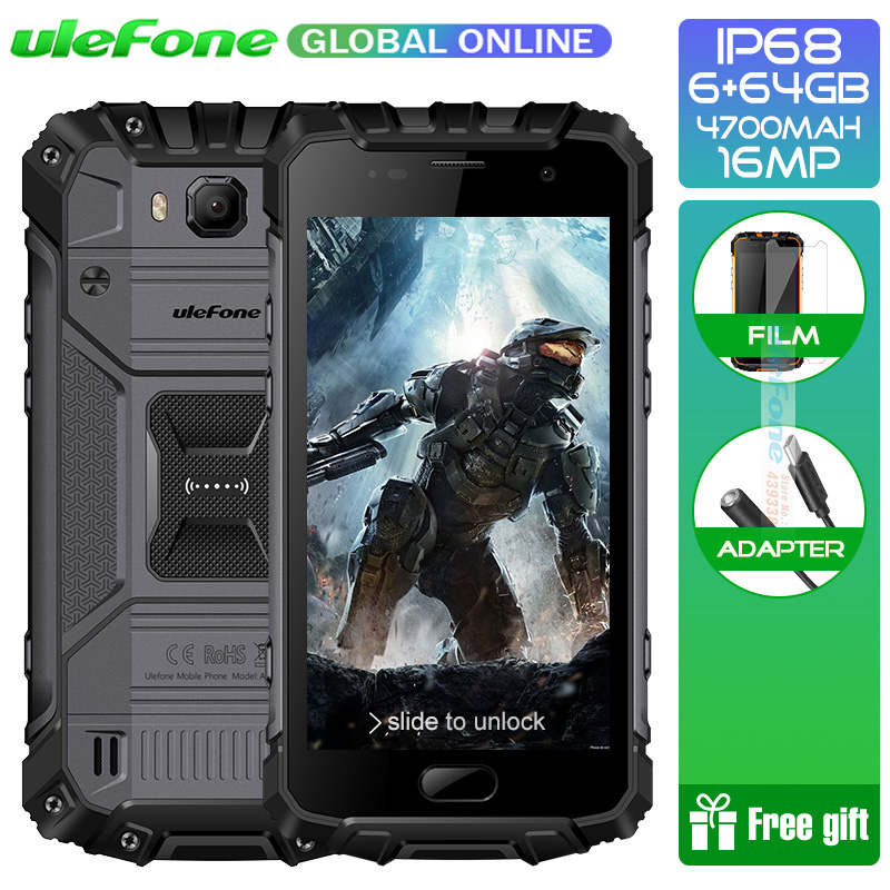 Ulefone Armure 2 IP68 Étanche Smartphone Android 7.0 5.0 FHD Helio P25 Octa Core 6 gb 64 gb 2.6 ghz 4700 mah NFC 4g Portable