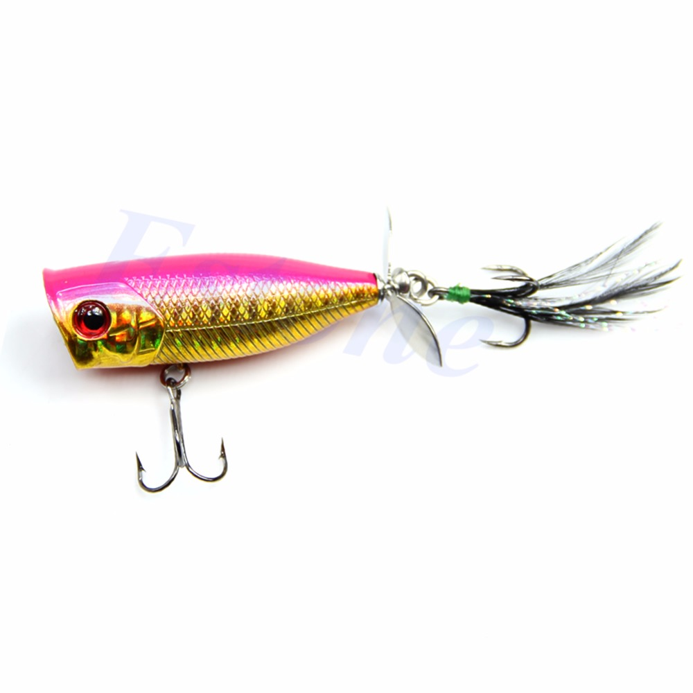 Propeller Feather Popper Lure Crankbait Sharp Hook Tackle Treble Fishing Lures wldslure 1pc 54g minnow sea fishing crankbait bass hard bait tuna lures wobbler trolling lure treble hook