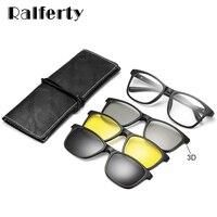 Ralferty Multi-Funktion Magnetische Polarisierte Clip Auf Sonnenbrillen Männer Frauen TR90 3D Gelb Nachtsicht Gläser Myopie Optic Rahmen
