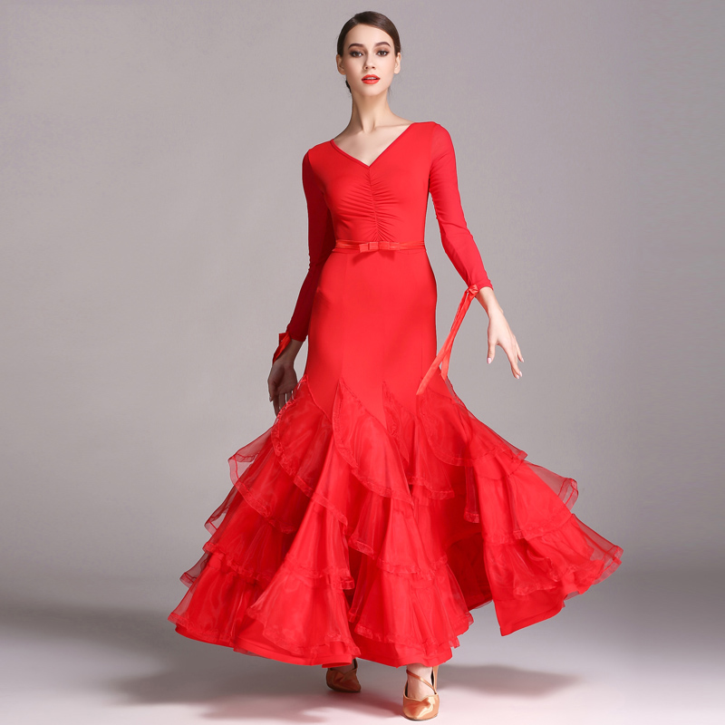 2018 New Ballroom Dance Dresses Waltz Ice Silk V Collar Long Sleeve Black Red Ballroom Dancing Standard Competition Dress DN1598