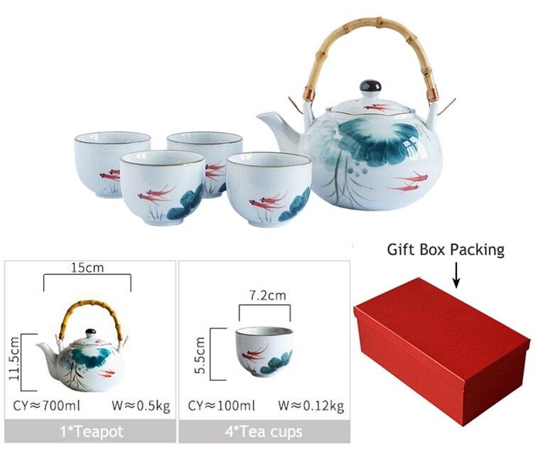 design chá chaleira conjunto de utensílios de chá (4 xícaras + 1 bule)