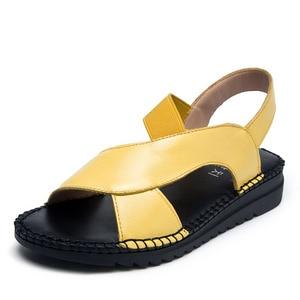 Image 2 - DRKANOL 정품 가죽 샌들 여성 플랫 검투사 샌들 여성 여름 신발 오픈 발가락 샌들에 수제 슬립 여성 블랙