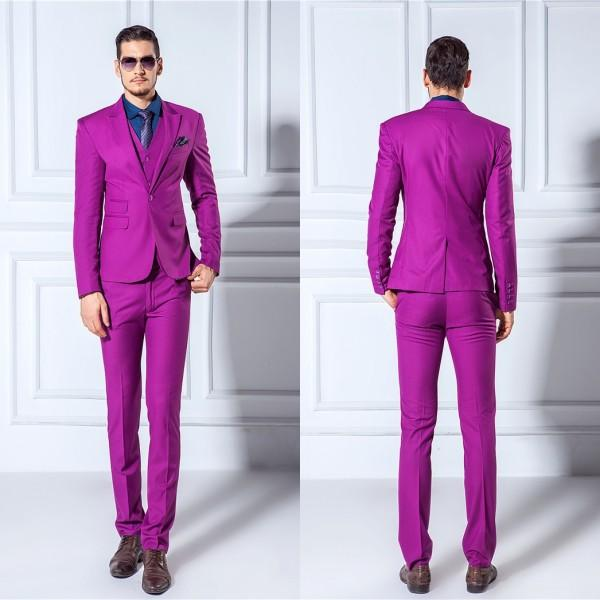 Men Suits Slim Blazers Tuxedo Groom Prom Purple Wedding Suits ...