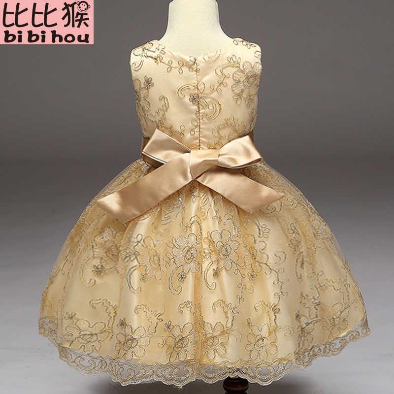 cecc0ea6d5c0 ... 2018 Baby Girls Infant Embroidery Dress kids Gold Wedding Toddler High-end  Dress Flower Vestidos ...