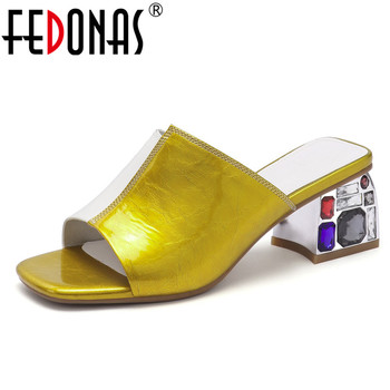 FEDONAS Blingbling Mixed Colors Women Sandals New Fashion Casual Summer Crystal High Heels Genuine Leather Party Shoes Woman