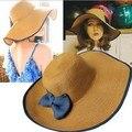 Оптовая Женская Мода Большой Брим Floppy Летние шляпы лук модные аксессуары Вс Соломенная Шляпка Cap Японии стиль