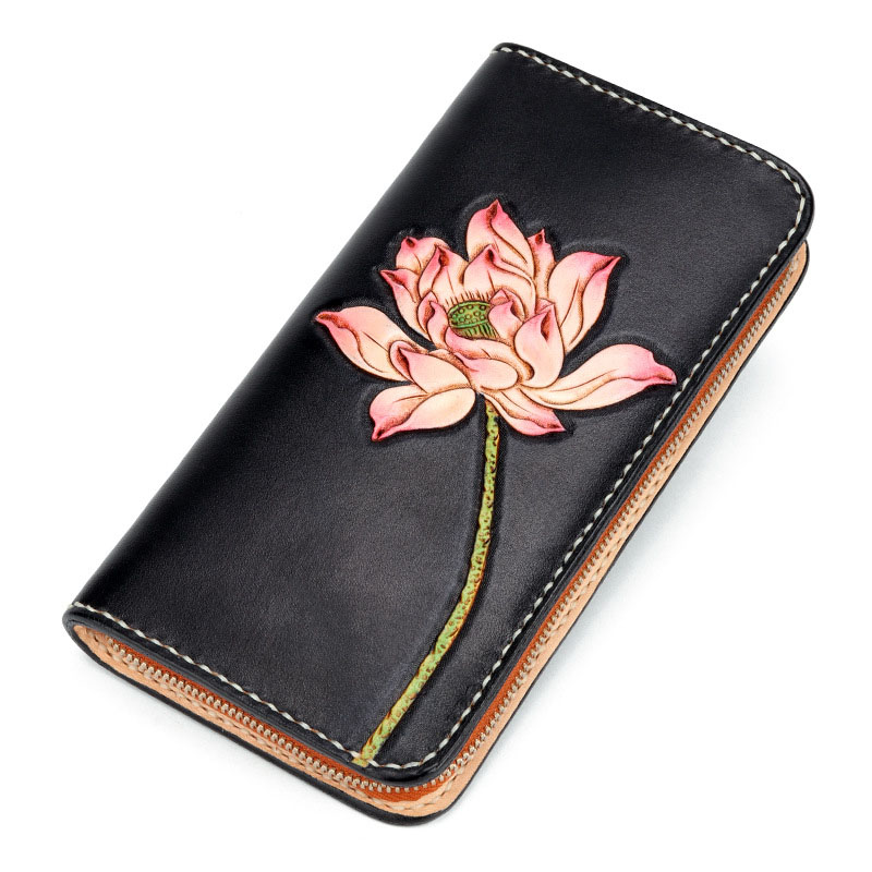 New ladies vintage suede leather hand-carved large-capacity clutch Lotus Chinese style painted multi-card wallet foldover suede wallet