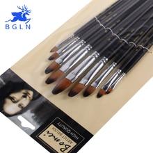 Bgln 9pcs/Set Round Painting Brush Oil Paint Nylon Watercolor Acrylic Art Supplies 803