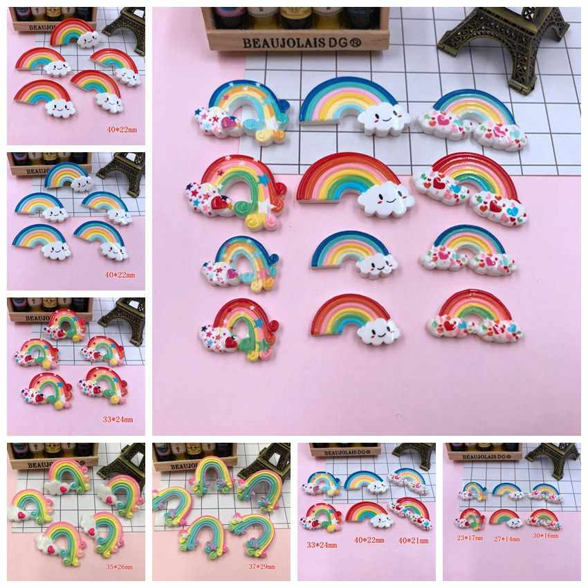 Free Shipping!! 5pcs/lot Kawaii Adorable Heart Rainbow, Resin Flat back Cabochons for Hair Bow Center, Phone Decoration,DIY