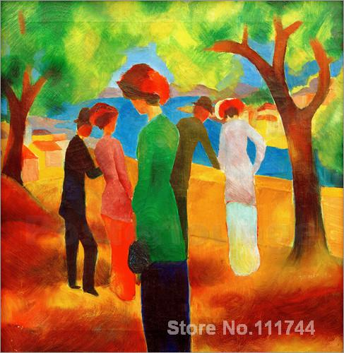Lady in a Green Jacket famous August Macke Paintings High quality Hand paintedLady in a Green Jacket famous August Macke Paintings High quality Hand painted
